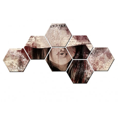 Set hexagonal Abstract Lady